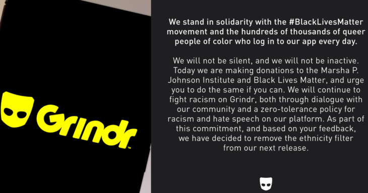 Grindr has removed its controversial ethnicity filters