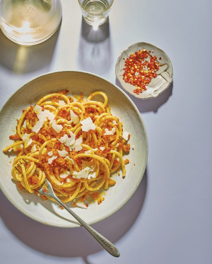 Michael Marino and Jorge Moret's Spicy Bucatini Aglio e Olio