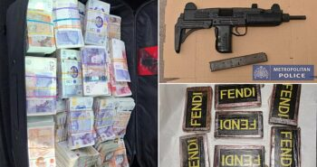 Pictured: Astonishing mountain of dirty cash, guns and Fendi-embossed 'designer cocaine'
