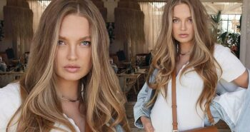 Romee Strijd reveals she's 'almost half way' through her pregnancy as she shares stylish outfit shot