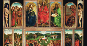 Dual mode standoff imaging spectroscopy documents the painting process of the Lamb of God in the Ghent Altarpiece by J. and H. Van Eyck